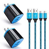 4 Pack Android Phone Wall Charger Micro Cable Set, AbcPow 4in1 Universal 2Port Charger Head Charge Block with 6ft Micro USB Cord Compatible for Samsung Galaxy S7 S6 Active J3 J7 J8, HTC, Xbox, Kindle