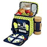 Picnic at Ascot Insulated Picnic Basket/Cooler And Blanket, Trellis Green