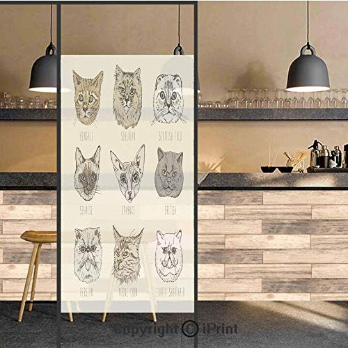 3D Decorative Privacy Window Films,Set of Different Breeds Cat Portraits Doodle Style Cute Funny Animals Kittens,No-Glue Self Static Cling Glass film for Home Bedroom Bathroom Kitchen Office 17.5x71 I ()