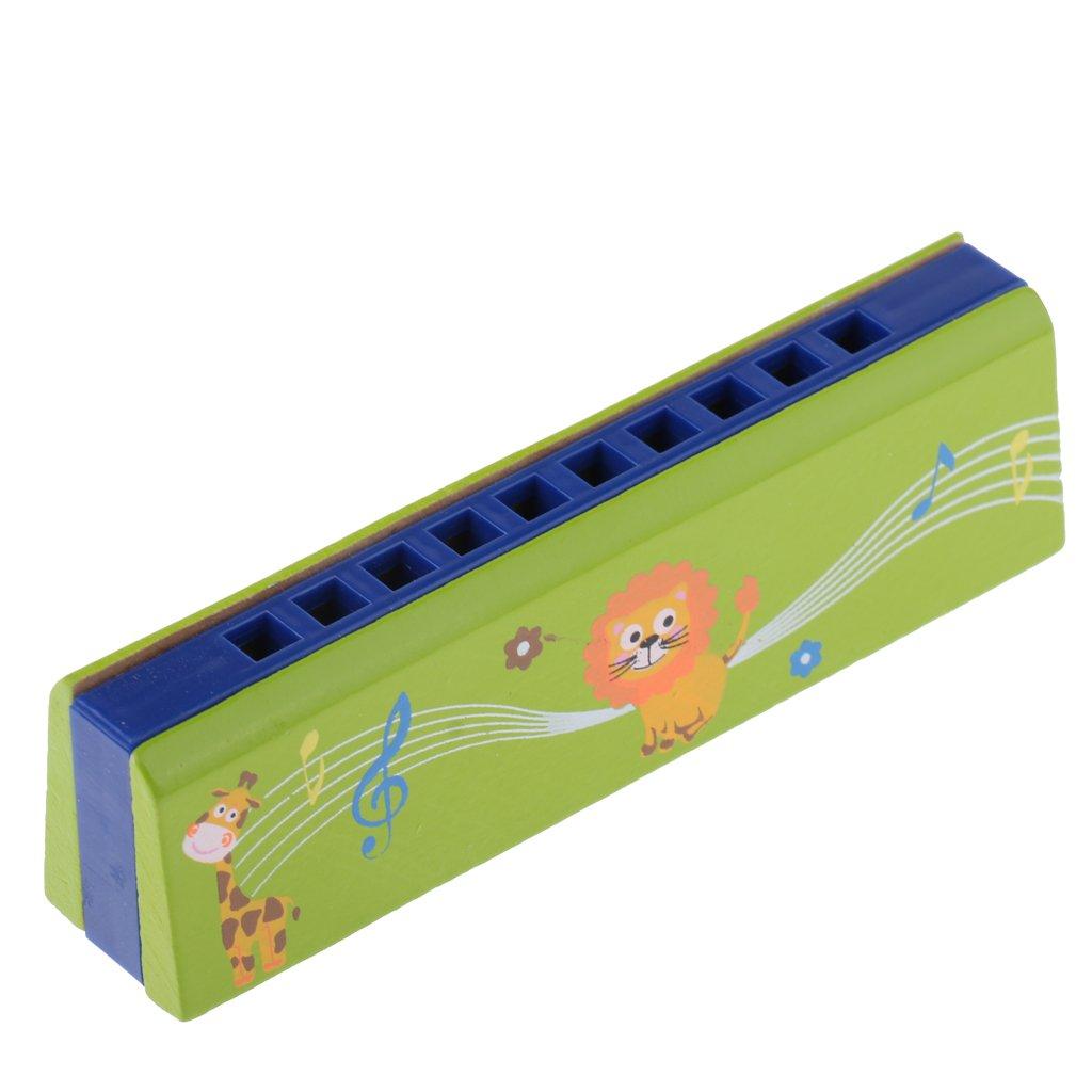 monkeyjack Cartoon木製10穴動物Harmonica口オルガン楽器子供音楽玩具グリーン B078KH251L