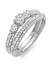 0.85 Carat (ctw) 14K White Gold Round Diamond 3 Stone Ladies Bridal Engagement Ring Wedding Band Set