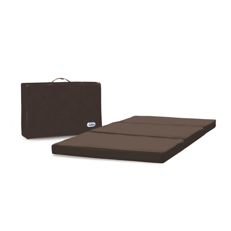 Asalvo 151120 Colch/ón plegable para cuna de viaje con bolsa de transporte color marr/ón chocolate