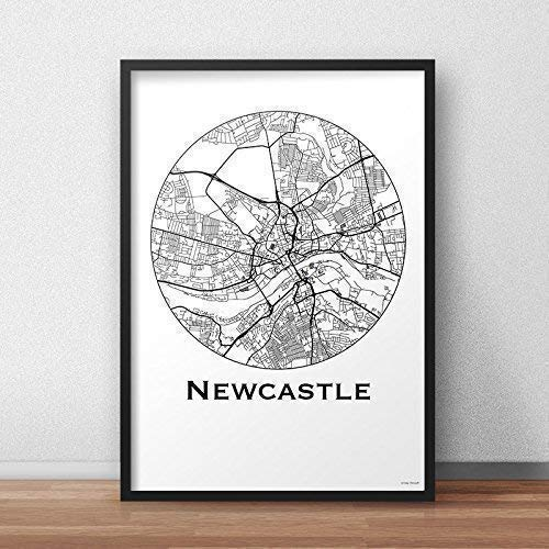 Map Of Uk Newcastle.Poster Newcastle England Minimalist Map City Map Art Of Newcastle
