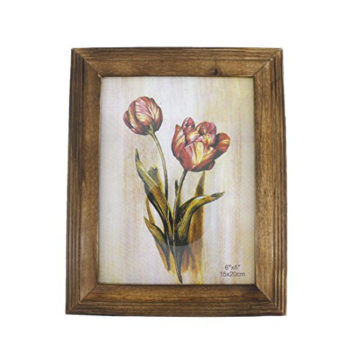 6x8-inch Wood Picture Photo Frame with Glass Front
