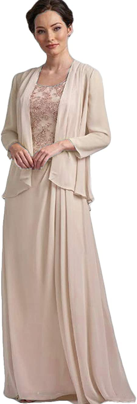 The Peachess Mother of The Bride Dresses Long Sleeves Zipper Back Scoop Neck Wedding Party Gowns