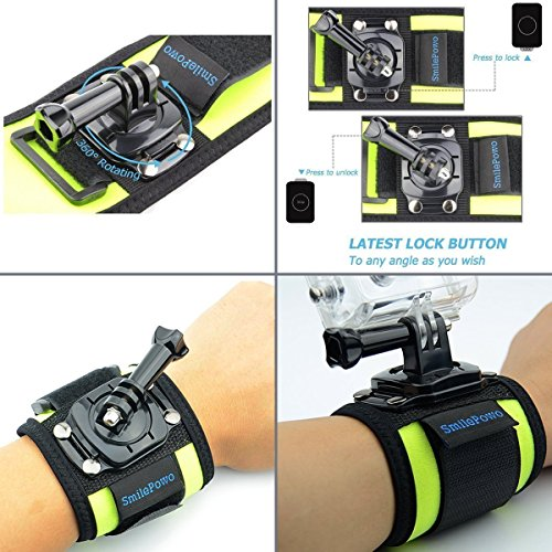 SmilePowo 360 Degree Rotatable Wrist Strap Arm Mount Accessory Kit for GoPro 8 Max 7 6 5 4 3 Hero Black//Hero 2018//Hero Session//Fusion AKASO Insta360 SJCAM APEMAN Campark YI 4K Action Camera Black