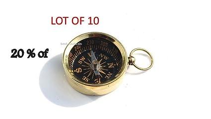 Brass Compass Key Chain Antique Compass Nautical Pocket Key Ring LOT OF 10 PCS