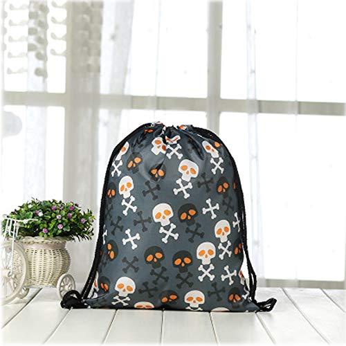 Violet Mist Print Drawstring Bag Tote Gym Sack Cosmetic Bag Backpack Lightweight Bundle Pocket for Women Girls Christmas Party Travel (Black Skull) ()