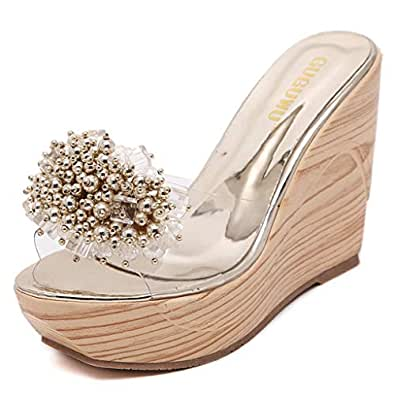 Amazon.com | Women's Glitter Flower Wedge Platform Slide