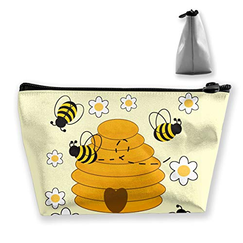 Makeup Bag Trapezoidal Storage Bag Bumblebee Bee Portable Cosmetic Bag Ladies Mobile Travel Bag ()