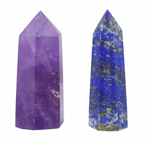 (SUNYIK Amethyst/Lapis Lazuli Self Standing 6 Facet Single Point Figurine Sphere Pack of 2)