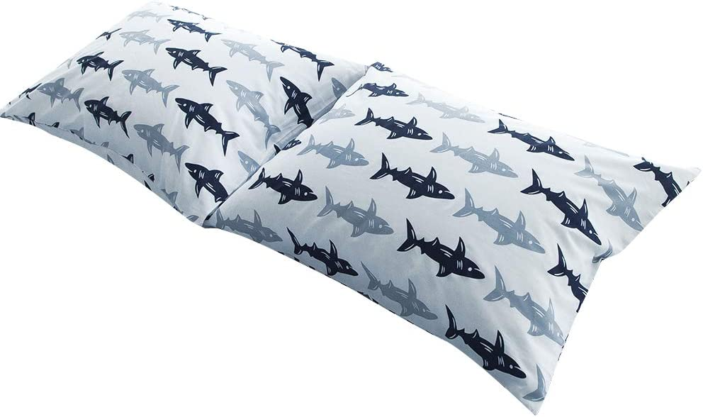 "BuLuTu Cotton Navy/Grey Shark Print Bed Pillowcases Set of 2 Queen White Fish Pillow Covers Decorative Standard For Boys Girls Envelope Closure End-Premium,Breathable,Hypoallergenic (2 Pieces,20""×26"")"