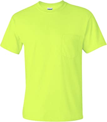 Lot of 2 Gildan Ultra Cotton Long Sleeve cotton blend Tee; Large;Safety Yellow