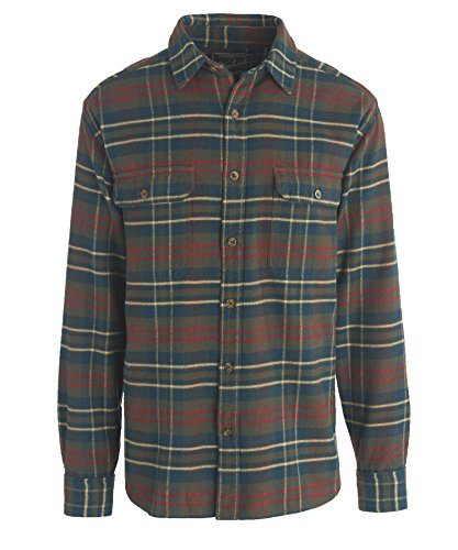 [Woolrich Men's Oxbow Bend Flannel Shirt, OLIVE PLAID (Green), Size 3XL] (Green Plaid Flannel Shirt)