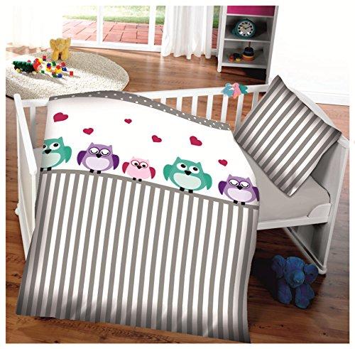 Baby-Bettwäsche aus Baumwolle EULEN weiß-taupe (graubraun) 100x135 + 40x60 cm