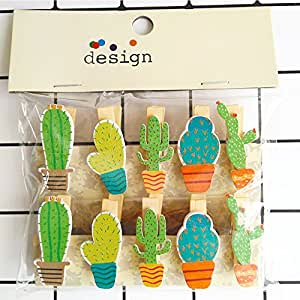 Zhi Jin 10pcs/Set Cute Wooden Clip Pegs Clothespins for Photo Album Postcard Note Paper Decor Clamp with Rope and 2Pcs Non-trace hooks, Cactus