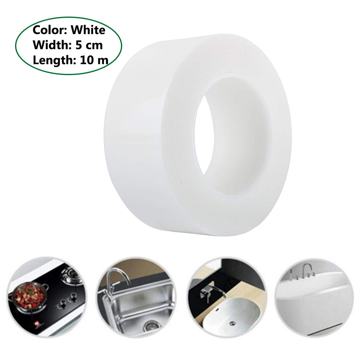 Bathtub Caulk Strip Self Adhesive Tape for Bathtub Bathroom Shower Toilet Kitchen Waterproof Wall Sealing 5 cm x 10 m, White
