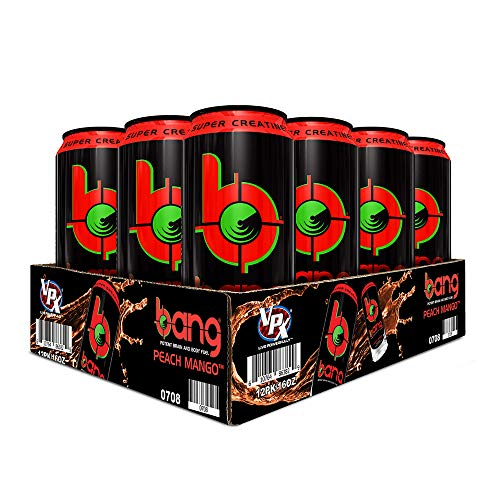 VPX Vital Pharmaceuticals Bang Peach Mango Energy Drink – 12 Drinks