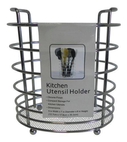 Kitchen Utensil Holder Caddy Rack Mesh Bottom - Chrome -