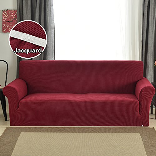 Wine Red Sofa Protector Covers (Extra Large) Jacquard Slipcover Slip-Resistant Solid Print by - Back Cushion Seater Sofa