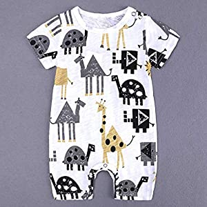 0-18Months,SO-buts Toddler Baby Boys Summer Animal Cartoon Print Bodysuit Romper Jumpsuit Outfit Clothes