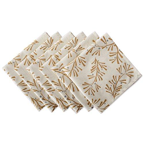 DII 100% Cotton, Machine Washable, Printed Metallic 20x20 Napkin Set of 6, Metallic Holly Leaves