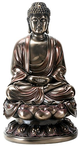 15 Inch Cold Cast Bronze Colored Resin Meditation Buddha Statue by YTC