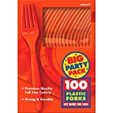Amscan Big Party Pack 100 Count Mid Weight Plastic Forks, Orange