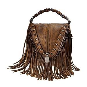 ZLYC Women's Leather Bamboo bolso con flecos