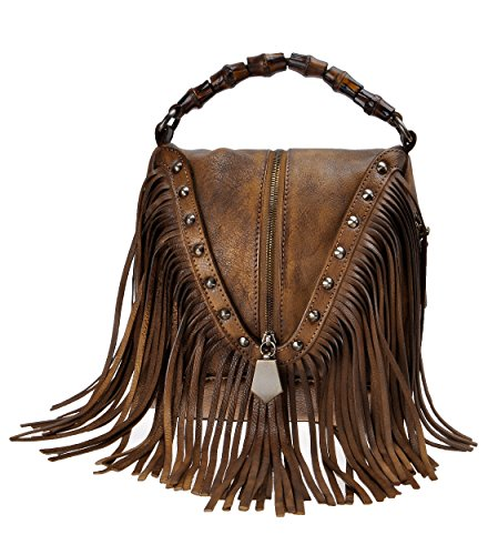 - ZLYC Women's Leather Bamboo Hand Strap Featured Fringe Bohemian Tassel Studed Cross Body Bag (Brown)
