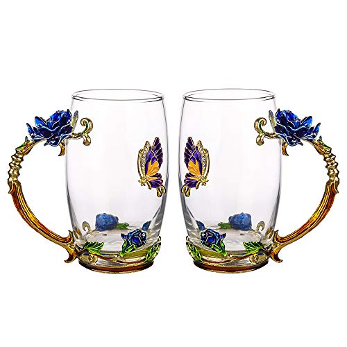 LIGHTENING DEAL! SET OF 2 BUTTERFLY AND BLUE ROSE GLASS TEA CUP SET