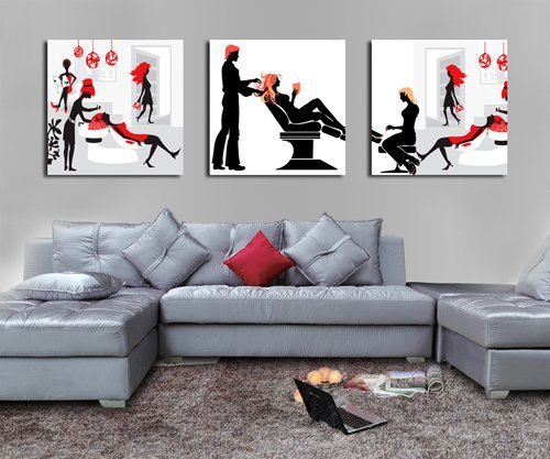 QICAI Art Huge Hair Salon Picture Painting on Canvas Print Stretched and Framed, Modern Home Decorations Wall Art set of 3 Each is 50*50cm (Picture Hair)