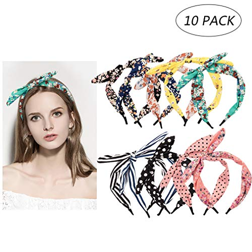 10 Colors Hair Band,Colorful Floral Assorted Bow Tie Hair Hoop Polka Dot Boho Stripe Bow Hairband Accessories for Women Girls]()