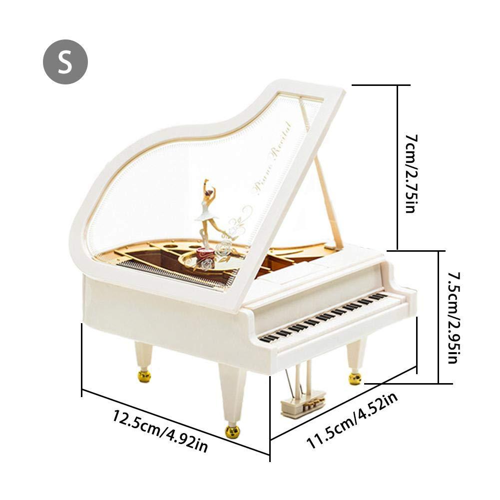 blanc Oddity Piano musical Bo/îtes Ornement Ballerine Fille Danse classique Peluche musicale Desk /étag/ère horloges Figurines de collection Home Decoration de Salle enfants Cadeau