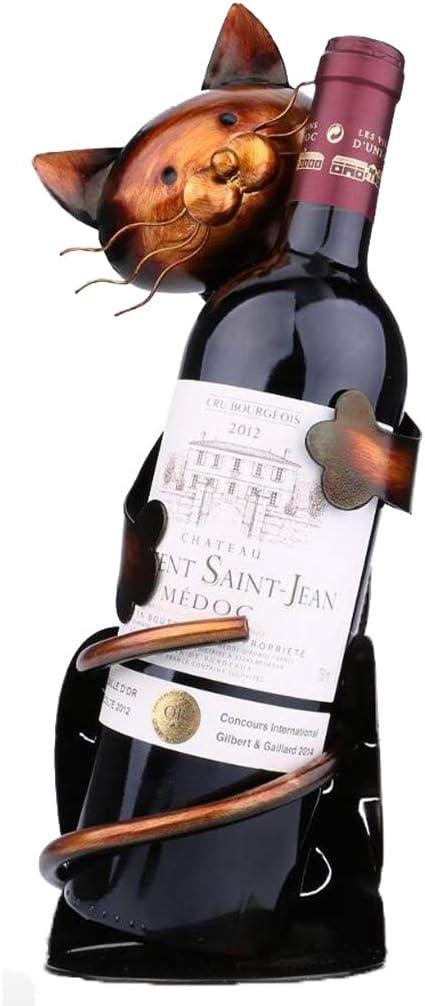 PIAOLING-botelleros Estante del Vino Creativo Metal Creativo Práctico Gato Estante del Vino Estante del Estante del Vino Escultura Estante del Vino Hogar Interior Artesanía Durable: Amazon.es: Hogar