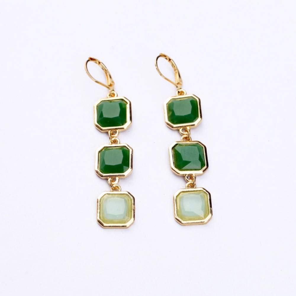 Qingerda Pendientes Pendientes De Piedras Preciosas De Diamantes Cuadrados 6,5 Cm