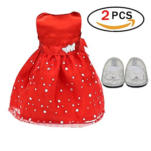 Sleeveless Doll Dresses Party Clothing for 18 Inch American Girls with Bling Bling Bownot Shoes Red