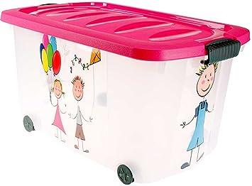 Caja para juguetes (Multi Box) con ruedas, niño, Kids-Pink