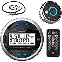 Dual Electronics MGH25BT Marine Boat Yacht Bluetooth Gauge Style Digital Media Receiver Bundle Combo With MWR15 Waterproof Wired Remote Control + Enrock 22 Radio Antenna