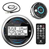 Dual Electronics MGH25BT Marine Boat Yacht Bluetooth Gauge Style Digital Media Receiver Bundle Combo With MWR15 Waterproof Wired Remote Control + Enrock 22'' Radio Antenna