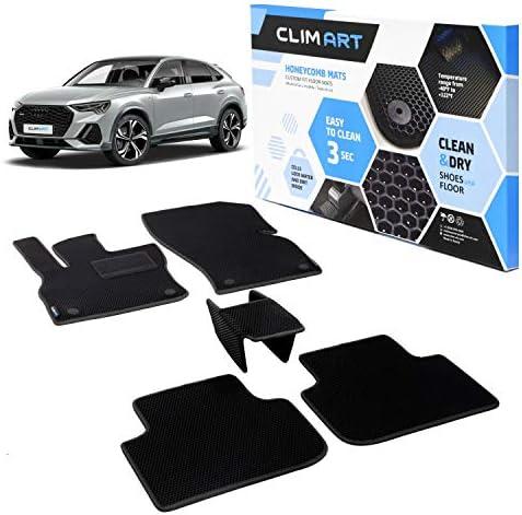 CLIM ART Honeycomb Custom Fit Floor Mats for Audi Q3 SPORTBACK 2020-2021, 1&2 Row, Car Mats Floor Liner, All-Weather, Car Accessories Man & Woman, Black/Black – FL011420101