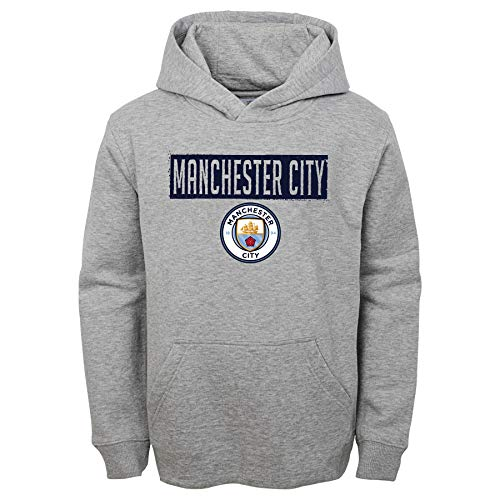 Outerstuff International Soccer Youth Gray 8-20 Pullover Sweatshirt Fleece Hoodie (Large 14/16, Manchester City) (Manchester City Soccer Hoodie)