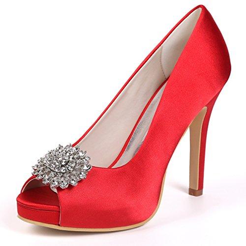 Boda Las Rhinestones La Tacones Zapatos Punta L De Prom De De Mujeres Nupcial De Corte Plataforma SatéN Red De YC Toe Altos Peep Zapatos axXRt