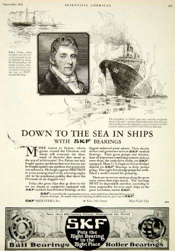 1927-ad-skf-roller-ball-bearings-robert-fulton-clermont-leviathan-industries-original-print-ad