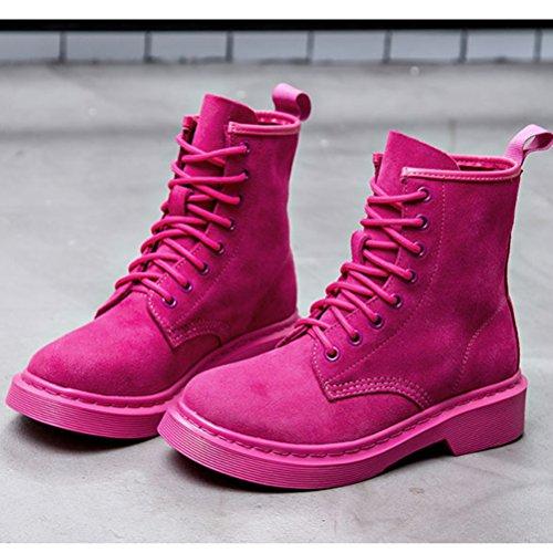 MatchLife Damen Martin Boots Erwachsene Bootsschuhe High-Top Style1-Rose