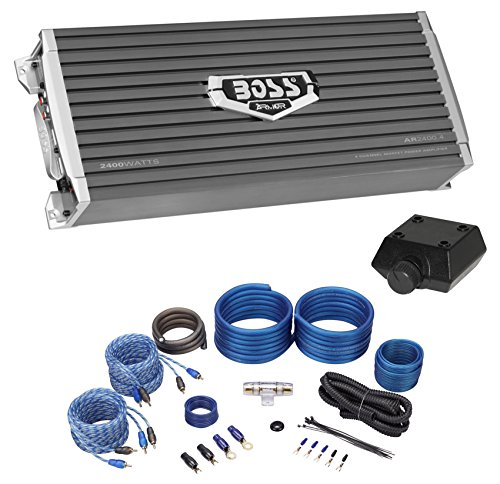 Boss Audio AR2400.4 2400 Watt 4-Channel Car Audio Amplifier+Amp Kit+Bass ()