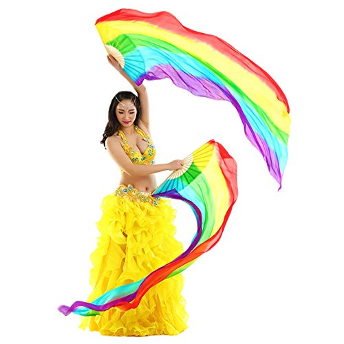Yizhiwu Women 1 Pair Chinese Factory 100% Silk Belly Dance Fan Veils Vertical Style (Rainbow Color)