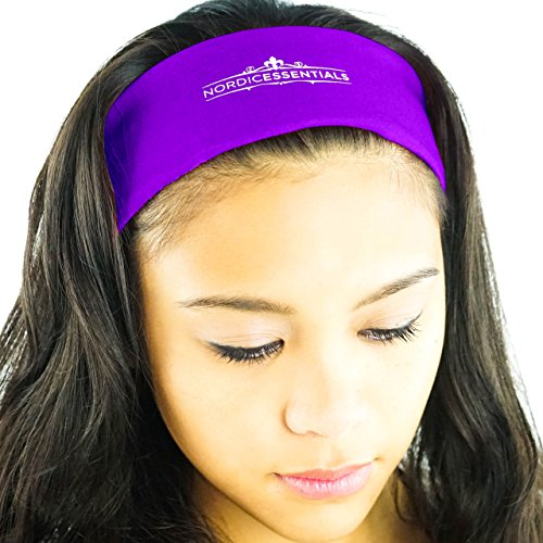 16-in-1 Headband (1-Pack) - 16+ Original Styles Headwear - Sports Band, Bandana, Neck Gaiter, Mask, Helmet Liner (Purple)