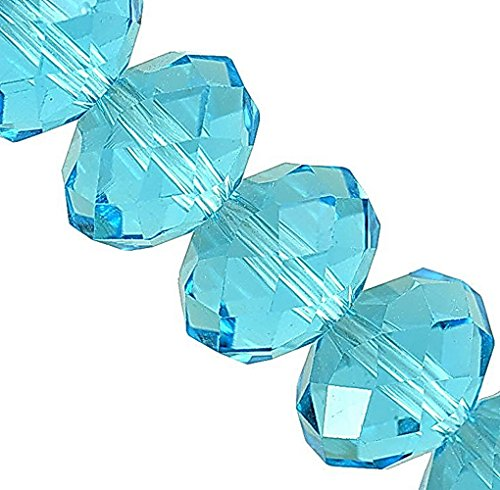 Linpeng 130pcs 8x10mm Faceted Rondelle Crystal Beads for for Jewelry Making, Aquamarine