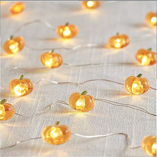 Jack-O-Lantern Orange Pumpkin String Lights - 10ft 40LEDs Long Battery Operated Copper Wire With the Remote & Timer for Indoor/Covered Outdoor/Autumn Parties & Home/Dorm Room Decorations by MIYA LIFE (Image #8)